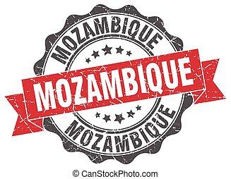 mozambique, redondo, cinta, sello