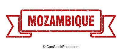 mozambique, rojo, ribbon., señal, grunge, banda