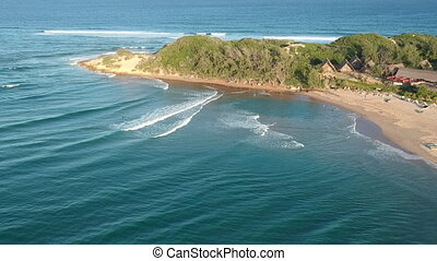 Mozambique Seacoast Aerial with Gentle Waves - Seacoast wit ...