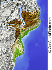 Mozambique, shaded relief map - Mozambique. Shaded relief ...