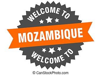 mozambique, signo., pegatina, naranja, bienvenida