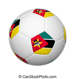 Mozambique soccer ball - Flags on soccer ball of Mozambique