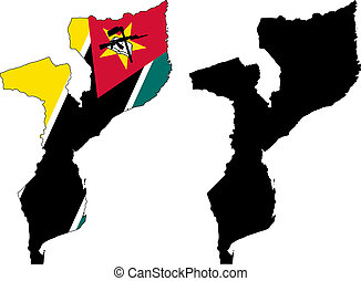 mozambique - vector map and flag of Mozambique with white ...