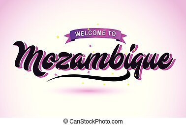 Mozambique Welcome to Creative Text Handwritten Font with Purple Pink Colors Design.