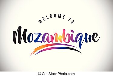 Mozambique Welcome To Message in Purple Vibrant Modern Colors.
