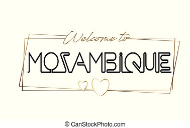 Mozambique Welcome to text Neon lettering typography. Word for logotype, badge, icon, postcard, logo, banner Vector Illustration.