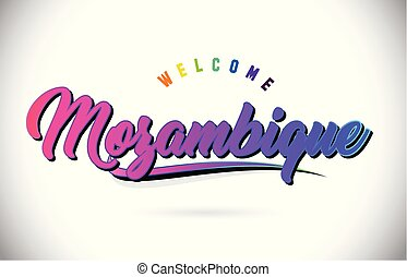 Mozambique Welcome To Word Text with Creative Purple Pink Handwritten Font and Swoosh Shape Design Vector.
