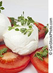 mozarella, tomatoe, caprese:, albahaca, queso