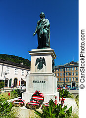 mozart memorial in the city of salzburg