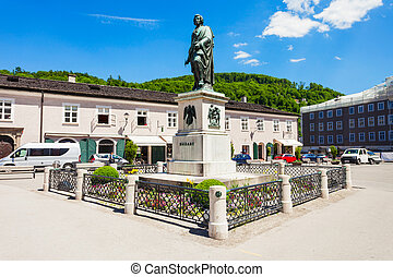Mozart monument in Salzburg - Mozart monument statue at the...