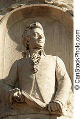 Mozart statue in Tiergarten center city park, Berlin,...