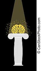 mozek, dále, jeden, pedestal., lehký, kdyby, dále, mind., enlightenment., vektor, illustration.