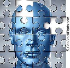mozek, lékařský, lidský, bádat