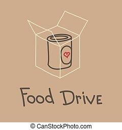 mozgalom, élelmiszer, autózás, ábra, vektor, jótékonyság