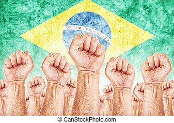 mozgalom, brasil, egyesítés, munkás, munka, ütés