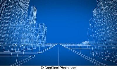 mozgató, át, a, felnövés, modern, város, digitális, 3, blueprint., szerkesztés, és, technológia, concept., kék, szín, 3, animation.