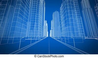 mozgató, át, a, modern, város, digitális, 3, blueprint., szerkesztés, és, technológia, concept., kék, szín, 3, animation.