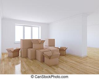 mozgató, dobozok, alatt, üres szoba