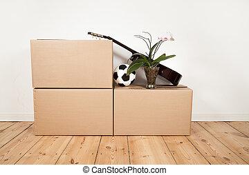 mozgató, dobozok, gitár, labdarúgás, és, virág