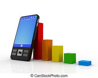 mozgatható, bankügylet, e-business, és, anyagi növekedés, kialakulás, és, siker, fogalom