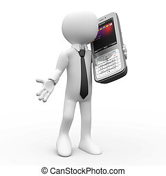 mozgatható, beszéd, ember, telefon