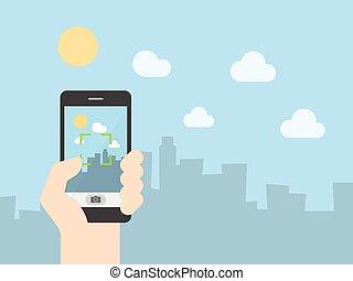 mozgatható, fénykép, bevétel, telefon