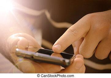 mozgatható, fiatal, telefon, használ, furfangos, ember