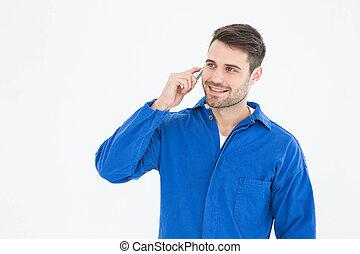 mozgatható, fiatal, telefon, szerelő, használ, hím, boldog