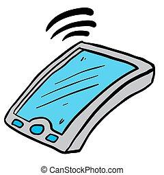 mozgatható, freehand, húzott, karikatúra, telefon