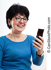 mozgatható, használ, nő, modern, telefon