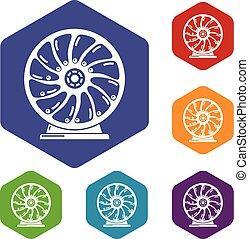 mozgatható, hexahedron, vektor, perpetuum, ikonok
