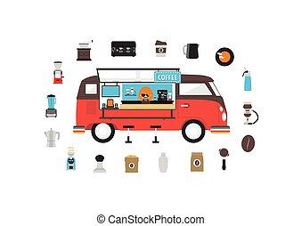 mozgatható, kávécserje, furgon