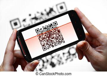 mozgatható, kód, scanner, qr