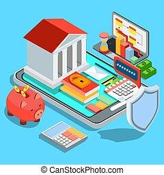 mozgatható, lakás, isometric, bankügylet