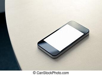 mozgatható, smartphone, asztalon