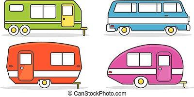 mozgatható, vontatott lakókocsi, retro, otthon