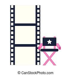 mozi director, termelés, levetkőzik, szék, film