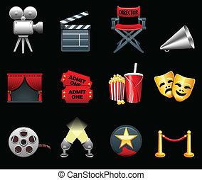 mozi, iparág, film, gyűjtés, ikon