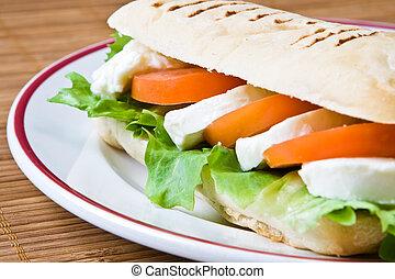 Mozzarella and tomato panini - Lettuce, tomato and...