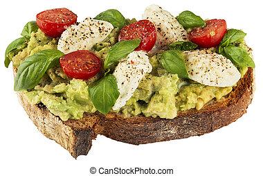 mozzarella, broodje, avocado, gezonde , vegan, basilicum, tomaten
