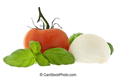 Mozzarella cheese, tomato and fresh basil (with clipping path)