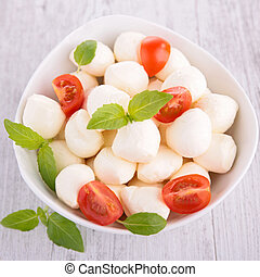 mozzarella salad with tomato and basil
