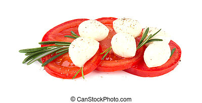 Mozzarella with tomato isolated on a white background. Italian food ingredients