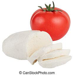 Mozzarella with tomatos isolated on a white background
