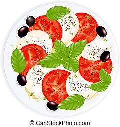 mozzarelle, huile, caprese, plaque, salade, olives, poivre, isolé, olive noire, blanc, basilic
