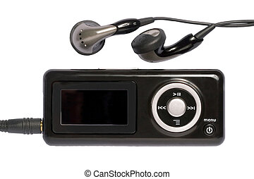 MP3 0101. - MP3 Player and earphones on white background.