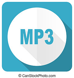 mp3 blue flat icon