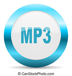 mp3 blue glossy icon