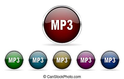 mp3 colorful glossy circle web icons set
