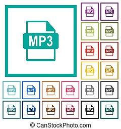 mp3 dossier, formaat, plat, kleur, iconen, met, kwadrant, lijstjes